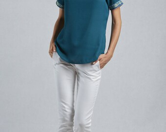Samples in polyester on sales, women blouse, urban chic blouse, short sleeves blouse, elegant t shirt, blue green top, office blouse, Ainou