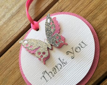 Butterfly Tags, Butterfly Favor Tags, Butterfly Baby Shower, Butterfly Thank You Tag, pink butterfly, it's a girl, butterfly party, purple