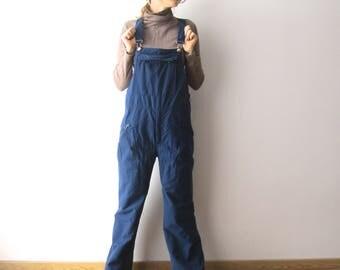 Vintage Navy Blue Skiing Pants Mens Winter Hipster Snow Pants Skimer Windbreaker Pants Medium Size Dark Blue Skiing Overalls Trousers