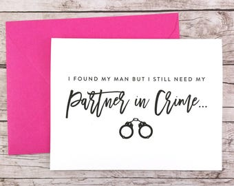 Will You Be My Bridesmaid Card, Bridesmaid Proposal Card, Partner in Crime Card, Maid of Honor Card, Maid of Honor Proposal - (FPS0048)