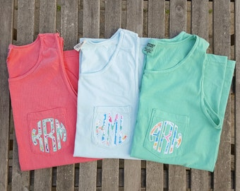 Comfort Colors Monogram Pocket Tank, monogrammed pocket tank, Applique monogram, pocket tank top, tank top, monogram tank top
