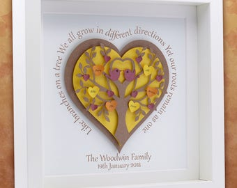 New Home Frame. Housewarming Gift. Personalised Family Tree Grandchildren Tree Grandparents Tree Mum and Dad Gift New Home Autumn Tree