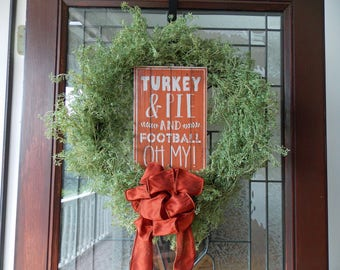 Fall Wreath-Fall Wreaths for Front Door-Thanksgiving Wreath-Autumn Wreath-Football Wreath-Fall Door Wreaths-Front Door Wreaths-Wispy Wreath