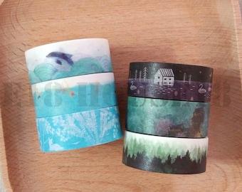 Blue & Dark Collections Washi Tape Masking Tape Set of 6 Rolls
