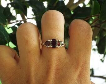 Garnet Ring Size 8 1/4,  1970's 2.5ct GENUINE NATURAL Garnet Trillion Engagement Wedding Right Hand Vintage Estate Sterling