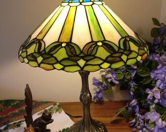 "16"" Tiffany lamp green leaf design (SE2-green leaf)"