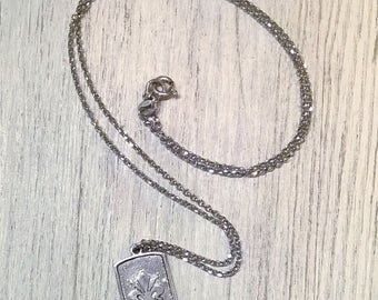 Silver necklace with Lily on silver plate 925