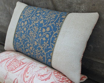 Lumbar Fortuny Pillow in Granada Blue and Silvery Gold, back in Mazzarino