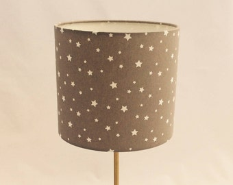 Hand made rolled-edge 20cm 'Grey Stars ' fabric lampshade