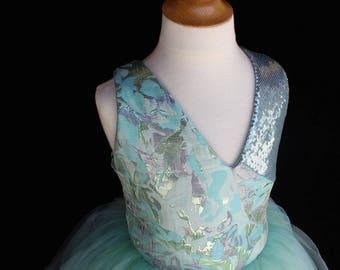 Teal V-Neck Girls Tulle Dress, Tulle Skirt Dress, Tutu Dress