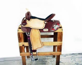 "16"" Skull & Roses Western Horse Handmade Pleasure Trail Barrel Racer Racing leather Saddle One Of A Kind"