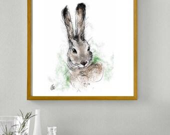 Framed hare print // hare art // hare print // hare painting // hare art print // hare illustration // hare nursery decor // hare home decor