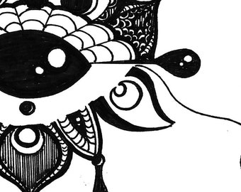 Black and White Art Print- Black and White Illustration- 'All Seeing Eye Bloom' Illustration- Hand Drawn Reproductions- 8.5 x 11 Art Print