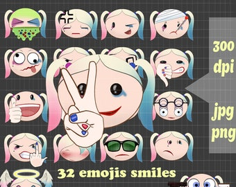 The emoji squad movie Harley quinn suicidé squad emoji svg clipart vector for cosplay costume  tee shirts  harley quinn birthday party emoji