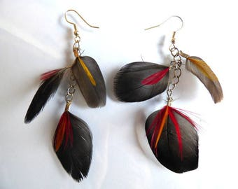 Earrings colorful feathers - jewelry natural feather and chain - layering - yellow and red - rock