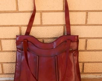 1970's Lou Taylor Burgundy Shoulder Bag Purse with Swivel Mirror / 1960's