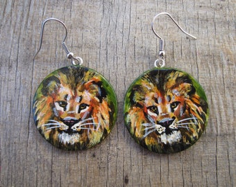 Hand Painted Lion Earrings, Lion Earrings, Lion Jewelry, Lion Painting, Leo, Wearable Art,  Polymer Clay Earrings, Painted Earrings, OOAK