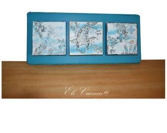 """Triptyque 3D, toiles sur bois, cadres bleus, déco bord de mer, trityque intitulé """" Piscis à l'Ô"""""""