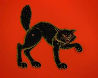 Vintage Beistle Die Cut Decoration, Articulated Halloween Scary Cat, 1950's Halloween Decor, Vintage Halloween Ephemera, Retro Halloween