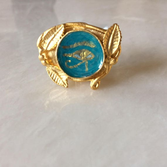 Gold Plated Brass Ring with Ancient Egyptian Wadjet Eye