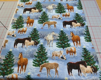 Winter Horses and Sheep Cotton Fabric