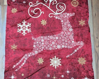 Stonehenge-Reindeer Prance Red Panel Cotton Fabric Designed by Deborah Edwards for Northcott