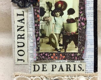 Paris Altered French Notebook Lined Journal Lined Notebook France Altered Book Art Gift for Her Vintage Woman Feminine Art Eiffel Tower