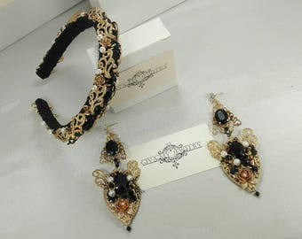 Black and Gold Headband Dolce Tiara and Earrings