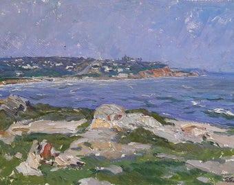 Original oil painting, oil on cardboard, Odessa artist, Tokmakov, Soviet art, Vintage