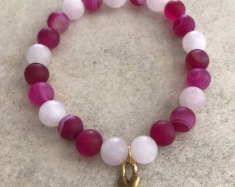 Matte Rose Quartz & Matte Fuchsia Striped Agate  8mm Beaded Gemstone Bracelet with 15mm Gold plated Heart Charm-SELF LOVE and CONFIDENCE