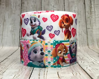 "1.5"" Patrol Dogs Animal Pet Cartoon Characters Movie TV Hearts Dots Pink Cheer Hairbow Grosgrain Ribbon  - Sold by 5 Yards"