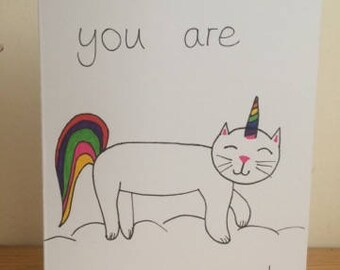 Unicat - unicorn - greetings card - meowgical cat