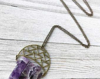 Amethyst Pendant Necklace // Long Necklace // February Birthstone // Boho Necklace // Gemstone Necklace // Raw Amethyst // Modern Necklace