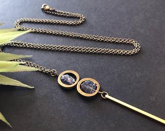 Raw Iolite Pendant Necklace // Natural Stone Necklace // Unique Long Necklace // Long Modern Necklace // Blue Stone Necklace // Raw Stone