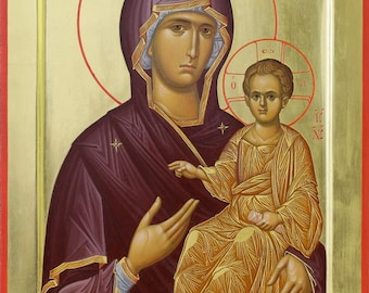 Mother of God Hodegetria Byzantine orthodox icon egg tempera
