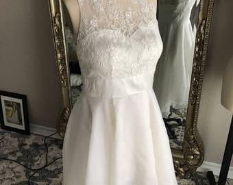 Short wedding dress, Rehearsal Dinner Dress, high low, silk dress, short wedding dresses, made to order,