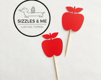 Apple cupcake toppers