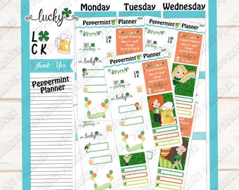 St Patrick Day Girl Characters --- Planner Stickers --- 669