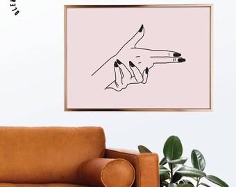 Bang Bang Print, Fashion Print, Line Art, Girl Boss Poster, Pink Femme Print, Scandinavian Modern, Line Drawing, Vector Art, Affiche