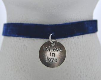 Believe in Love Charm Velvet Choker