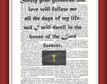 Vintage dictionary art printed page bible Quote. Surely your goodness......