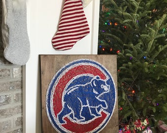 Chicago Cubs String Art, Team Pride, Man Cave