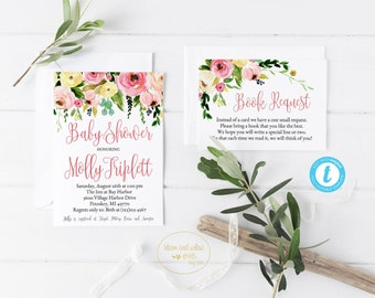Custom Baby Shower Invitation and Book Request / Edit YOURSELF / / Editable Shower Invitation/Pink Floral Baby Shower Invitation Editable