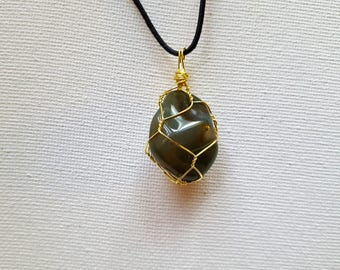 Wire Wrapped Moss Agate Gemstone Necklace