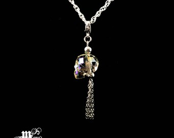 Silver Plated Necklace with Swarovski Crystal Skull Pendant, Glittery, Shiny, Halloween, Spooky, Scary, Boo, Party, Long, Whimsical, Quality