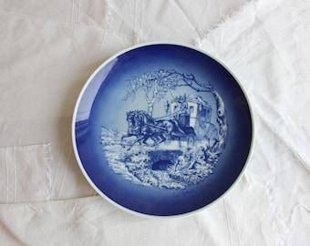 Vintage Lindner Keups Bavaria Echt Cobalt Handarbeit decorative plate 9.25 inches