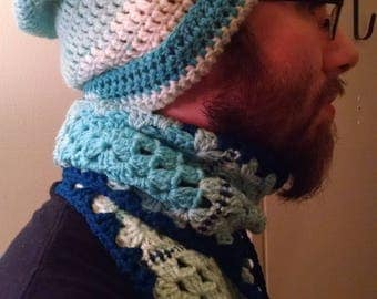 "Crochet ""Singin' Blues"" Scarf & Hat set"