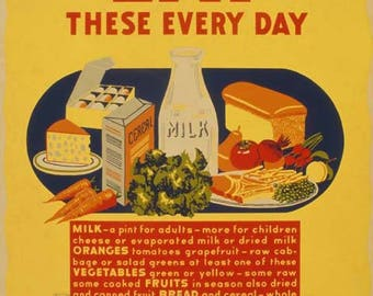 Eat These Every Day Poster   Vintage Print Art   Home Decor   Kitchen Art