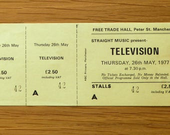 PUNK ROCK 1977 RARE Television Ticket Fully Intact