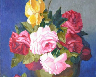 Oil painting Roses in vase Best gift